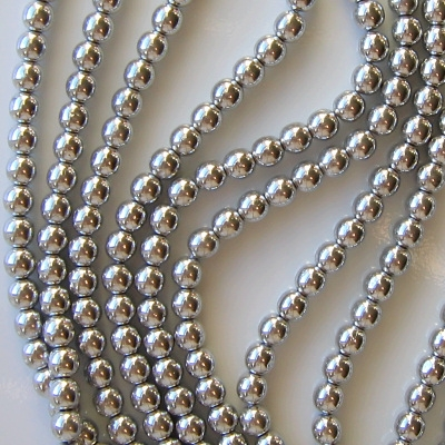 6mm Silver-Colored Round Beads [50]