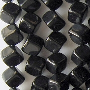 8mm Jet Black Diagonal Cube Beads [50]