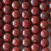 6mm Red Picasso/Bronze Luster Round Beads [50]