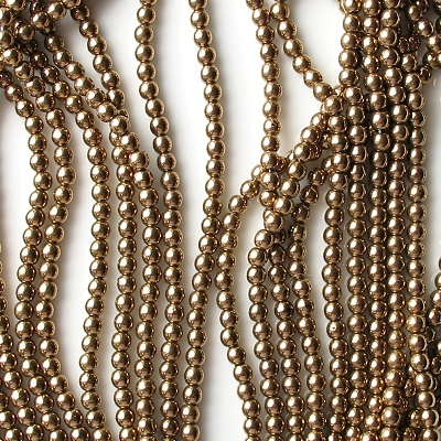 4mm Bronze Round Glass Beads [100]