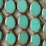 12mm Turquoise Picasso Polished Oval Beads [20] (see Comments)