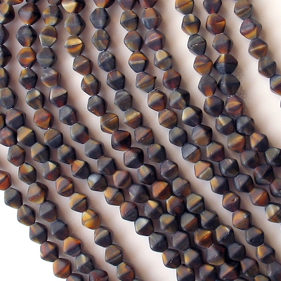 6mm Brown Tiger Matte Bicone Beads [50]
