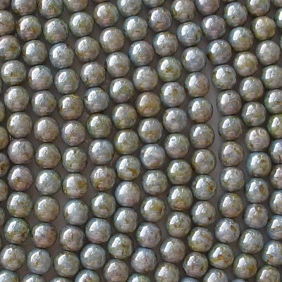 6mm Opaque Blue-Green Mottled Luster Round Beads [50]