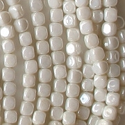 3.5mm Opaque White Luster Cube Beads [100]