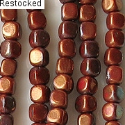 3.5mm Red-Bronze Cube Beads [100]