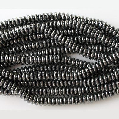 2x6mm Hematite Rondelle Glass Beads [50]
