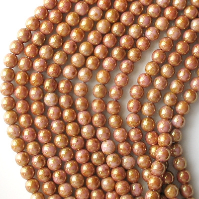 6mm Pink/Topaz Luster Round Beads [50]