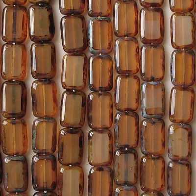 12mm Milky Brown Picasso Polished Rectangle Beads [20]