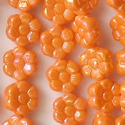 8mm Opaque Orange Luster Daisy Beads [50]