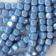 3.5mm Opaque Light Blue Luster Cube Beads [100]