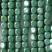 3.5mm Opaque Green Luster Cube Beads [100]
