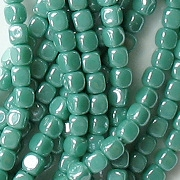 3.5mm Turquoise Luster Cube Beads [100]