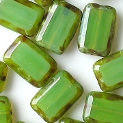 12mm Milky Peridot Green Polished Rectangle Beads [20]