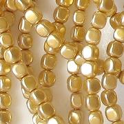 3.5mm Gold Pearl Cube Beads [118+] (see Defects)