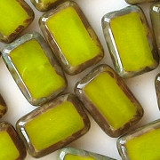 12mm Chartreuse Picasso Polished Rectangle Beads [20] (see Comments)