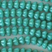 5x6mm Greenish-Turquoise Bell Flower Beads [50]