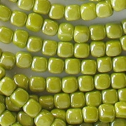 3.5mm Opaque Olive Green Luster Cube Beads [100]