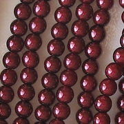 4mm Burgundy Red Round Glass Pearls [118+] (see Comments)