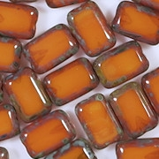 12mm Milky Orange Picasso Polished Rectangle Beads [20] (see Comments)