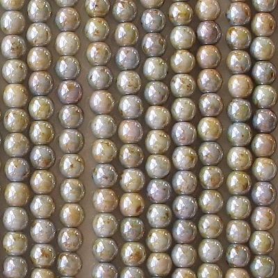 4mm Opaque Green Mottled Luster Round Beads [100]