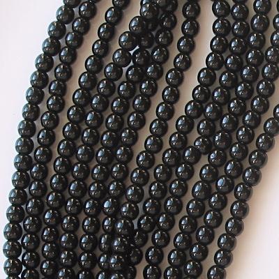 4mm Black Round Beads [100]