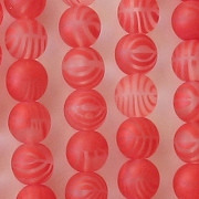 8mm Red Striped Matte Round Beads [50]