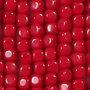 3.5mm Opaque Red Cube Beads [100]