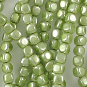 3.5mm Olive Green Pearl Cube Beads [118+] (see Defects)