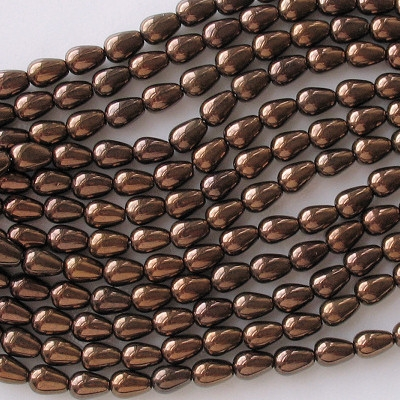 8mm Dark Bronze Teardrop Beads [50]