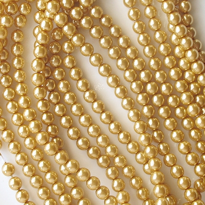 6mm Gold-Colored Round Glass Pearls [75]