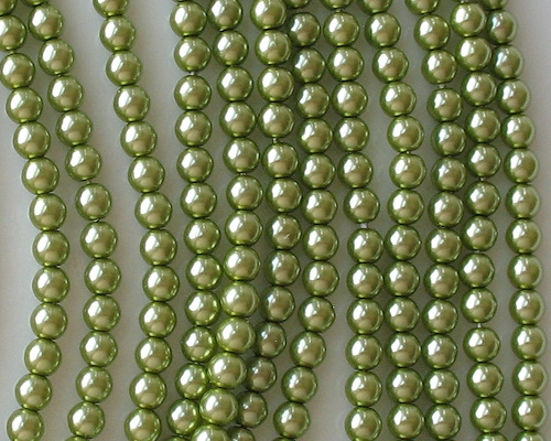 4mm Olive Green Round Glass Pearls [118+]