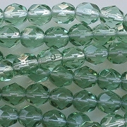 6mm Light Prairie Green Faceted Round Beads [50]