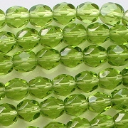 6mm Olive Green Faceted Round Beads [50]