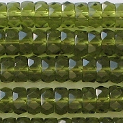 3x6mm Olive Green Faceted Rondelle Beads [50]