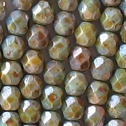 6mm Opaque Green Mottled Faceted Beads [50]