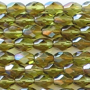 7mm Olive Green Celsian Faceted Oval Beads [50]