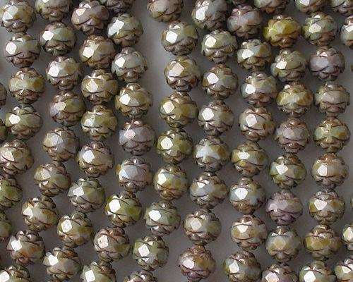 7x8mm Opaque Green Mottled Faceted Rosebud Beads [25]