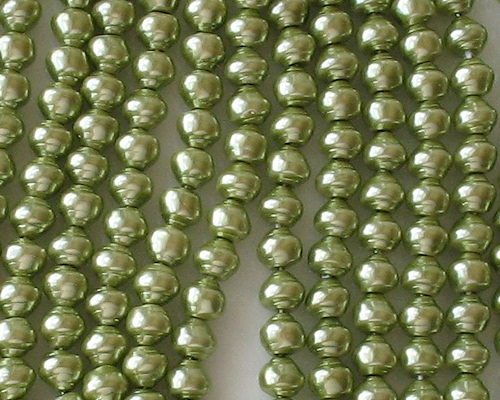 6mm Light Olive Green Snail-Shell Glass Pearls [75]