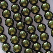 6mm Dark Olive Green Glass Pearls [75]