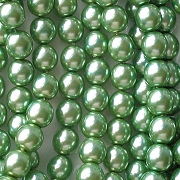6mm Olive Green Round Glass Pearls [80] (see Comments)