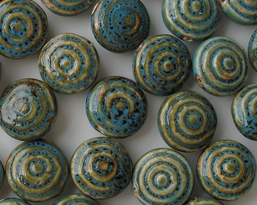 25mm Turquoise Mottled Bull's-Eye Circular Pottery Beads [5] (see Defects)