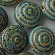 25mm Turquoise Mottled Bull's-Eye Circular Pottery Beads [5]
