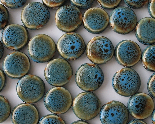 18mm Turquoise Mottled Coin Pottery Beads [10]