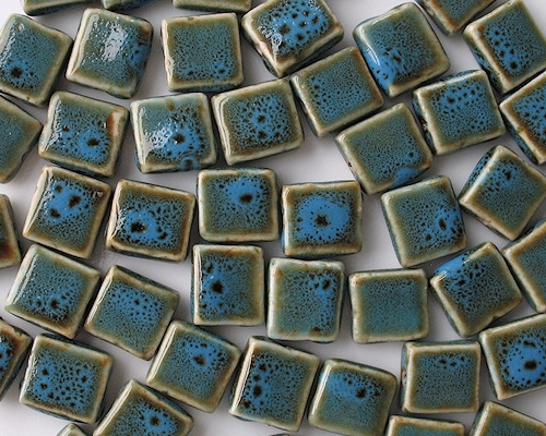 12mm Turquoise Mottled Flat Square Pottery Beads [10]