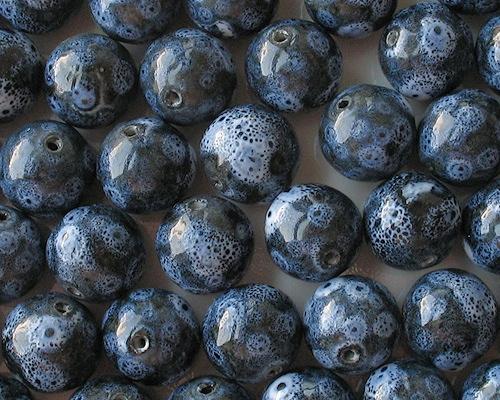20mm 'Denim' Blue Round Pottery Beads [5]