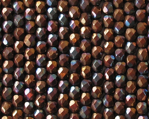 6mm Dark Bronze Iris Faceted Round Beads [50]