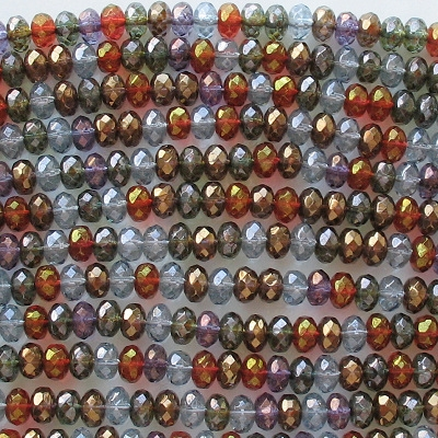 4x7mm Mixed Luster Faceted Rondelle Beads [50]