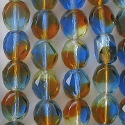8mm Blue/Amber/Green Flat-Cut Faceted Beads [50]