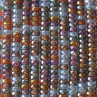 3x6mm Mixed Luster Faceted Rondelle Beads [50]