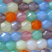 6mm Mixed Opalescent Faceted Round Beads [50]